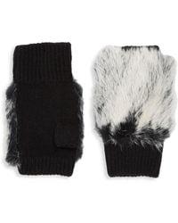 Adrienne Landau - Plush Fur Fingerless Gloves - Lyst