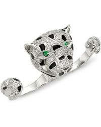 CZ by Kenneth Jay Lane - Double Finger Leopard Crystal Ring - Lyst
