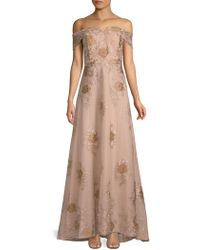 CALVIN KLEIN 205W39NYC - Embroidered Off-the-shoulder Floor-length Dress - Lyst