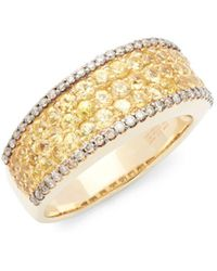 Effy - Espresso Diamond, Yellow Sapphire And 14k Yellow Gold Ring - Lyst