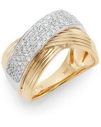 Effy - Diamond, 14k Yellow Gold & 14k White Gold Ring - Lyst