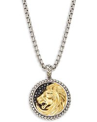 Effy - Sterling Silver, Goldplated & Black Sapphire Lion Medallion Pendant Necklace - Lyst