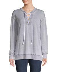 Allen Allen - Lace-up Sweatshirt - Lyst