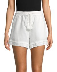 Saks Fifth Avenue Smocked Raw-edge Shorts - White