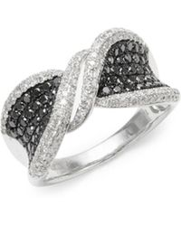 Effy - Diamond, Black Diamond & 14k White Gold Solid Fill Statement Ring - Lyst