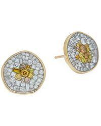 Plevé - Two-tone Diamond 18k Yellow Gold Disc Earrings - Lyst