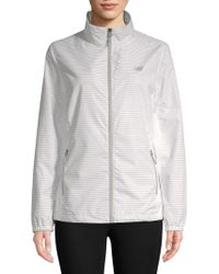 New Balance - Striped Full-zip Jacket - Lyst