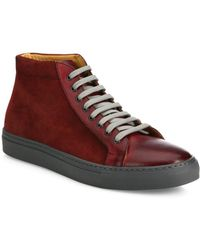 Saks Fifth Avenue - Collection Mix Media Leather High-top Sneakers - Lyst