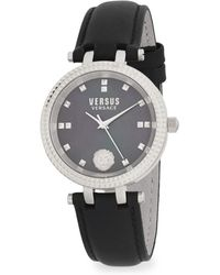 Versus - Stainless Steel Leather Band Watch - Lyst