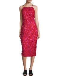 Carmen Marc Valvo - Embroidered Floral Dress - Lyst
