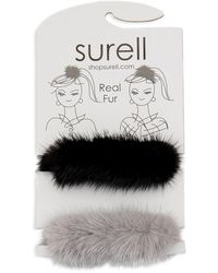 Surell - Mink Fur Knit Stretch Hair Accessory - Lyst