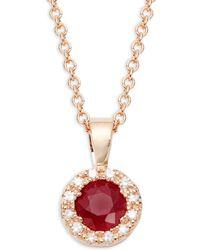 Effy - 14k Rose Gold Ruby & Diamond Sunburst Pendant Necklace - Lyst