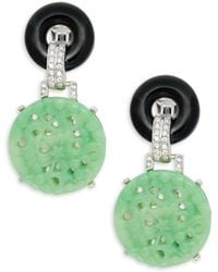 Kenneth Jay Lane - Glass Crystal Double-circle Drop Clip-on Earrings - Lyst
