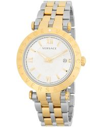 Versace - V-race Silver Dial Mens Two Tone Watch Vcl110017 - Lyst