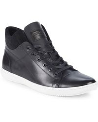 Kenneth Cole - Lace-up Leather High-top Sneakers - Lyst
