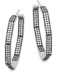 Freida Rothman - Double Row Pavé Crystal Octagon Hoop Earrings - Lyst