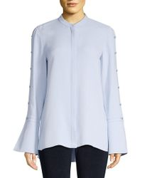 dbeb67606b0c5 Lyst - Lafayette 148 New York Nicolette Silk Blouse in Blue