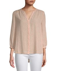 NYDJ - V-neck Pleated Blouse - Lyst