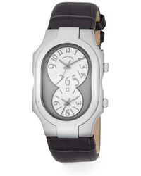 Philip Stein - Signature Dual-time Stainless Steel & Alligator-embossed Leather Strap Watch - Lyst