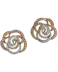 Effy - Diamond And 14k White, Yellow And Rose Gold Flower Stud Earrings, 0.61tcw - Lyst
