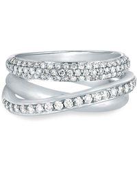 Nephora - 14k White Gold & Diamond Three Band Ring - Lyst