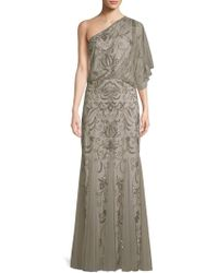 Adrianna Papell - Beaded One-shoulder Blouson Gown - Lyst