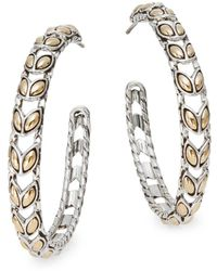 "John Hardy - Padi 18k Yellow Gold & Sterling Silver Hoop Earrings/1.5"" - Lyst"