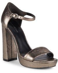 01f8348d2ded32 Pour La Victoire - Yvette Leather Block Heel Sandals - Lyst
