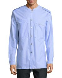 Balmain - Mandarin Collar Cotton Button-down Shirt - Lyst