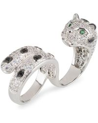 CZ by Kenneth Jay Lane - Crystal Panther Double Finger Wrap Ring - Lyst