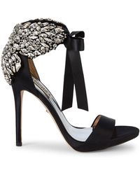 Badgley Mischka Hilda Embellished Satin Sandals