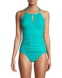 4f12e0c143 Tommy Bahama Leopard Print Bandeau One-piece Swimsuit in Black - Lyst