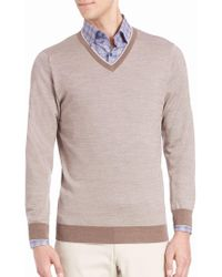 Saks Fifth Avenue - Birdseye Merino Wool V-neck Jumper - Lyst