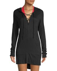 Green Dragon - Lace-up Hooded Coverup - Lyst