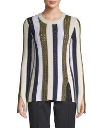 Derek Lam - Striped Pointelle Sweater - Lyst