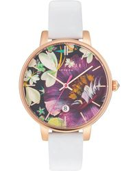 Ted Baker - Kate Round Rose Goldplated Stainless Steel Analog Leather Strap Watch - Lyst