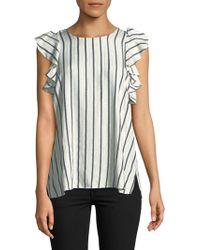 T Tahari - Flutter Sleeve Striped Blouse - Lyst