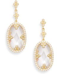 Freida Rothman - Crystal Pavé Halo Oval Drop Earrings - Lyst