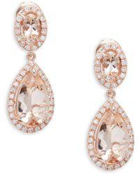 Effy - Diamond, Morganite And 14k Rose Gold Drop Earrings - Lyst