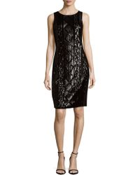 Adrianna Papell - Cable-sequin Sheath Dress - Lyst