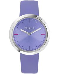 Furla - Valentina Lilac Dial Calfskin Leather Watch - Lyst