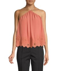 Astr - Embroidered Scalloped Top - Lyst