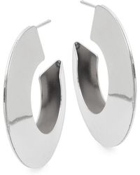 Kenneth Jay Lane - Silvertone Half Hoop Earrings - Lyst
