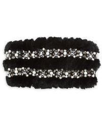 Glamourpuss - Embellished Dyed Rabbit Fur Headband - Lyst