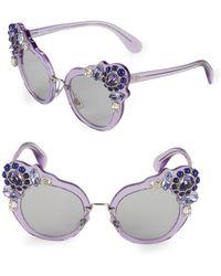 Miu Miu - Crystal Embellished 52mm Cateye Sunglasses - Lyst
