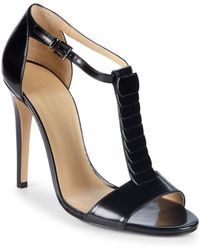 Armani - T-strap Leather Sandals - Lyst