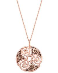 Effy - 14k Rose Gold, White & Brown Diamonds Pendant Necklace - Lyst