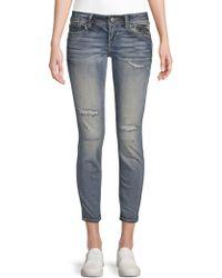 Miss Me - Distressed Zip Jeans - Lyst