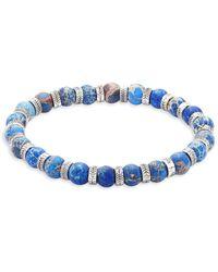 Perepaix - Stainless Steel & Blue Regalite Beaded Bracelet - Lyst