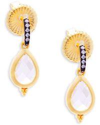 Freida Rothman - Pavé Teardrop Sterling Silver Drop Earrings - Lyst